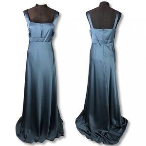 NWT Calvin Klein Teal Blue Formal Satin Gown 14